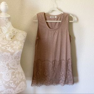 Reckless Angel Light Brown Neutral Lace Tank Top